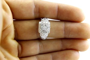 Other Princess Cut Diamond Square Cluster Ring Band 14k White Gold 1.90Ct