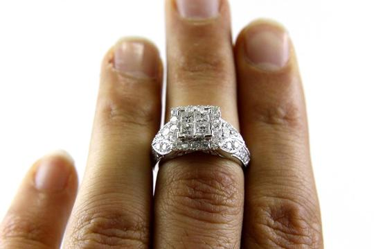 Other Princess Cut Diamond Square Cluster Ring Band 14k White Gold 1.90Ct Image 1