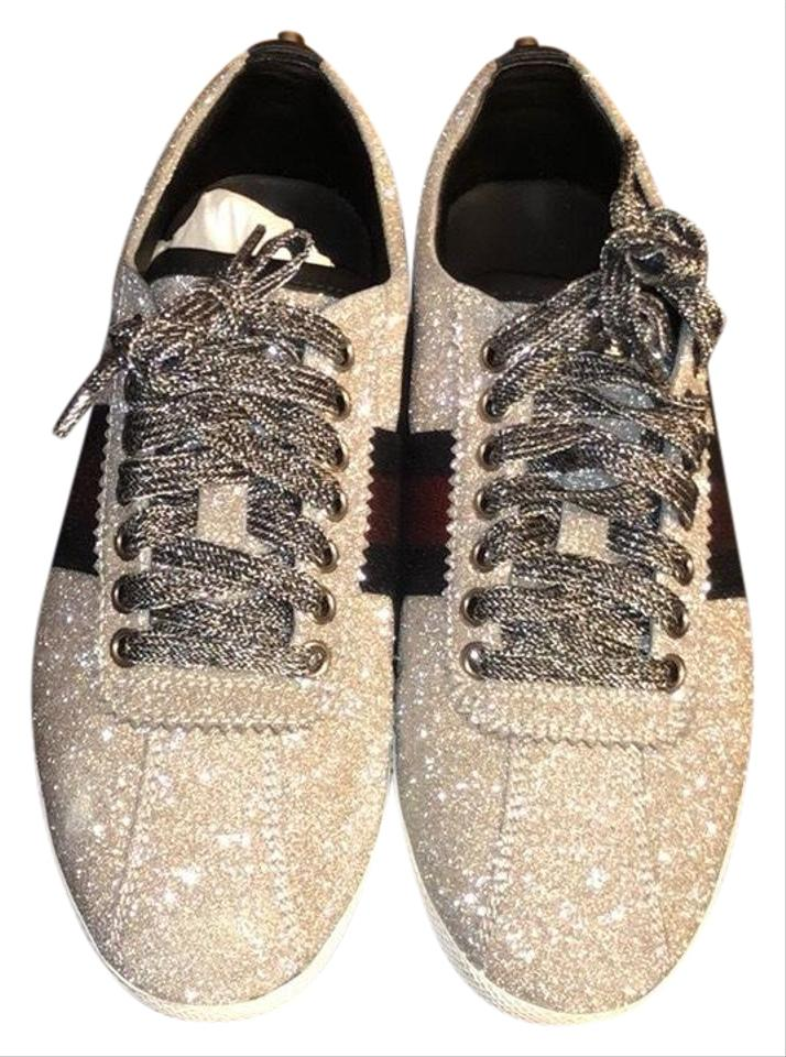 8e42be13213d Gucci Silver Glitter Web Sneaker with Studs Sneakers Size US 6.5 ...