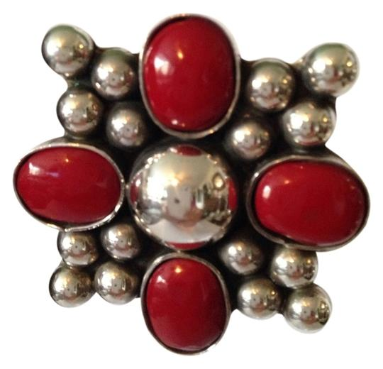 Other Very Large Red Coral & Sterling Silver Clip Earrings Image 1