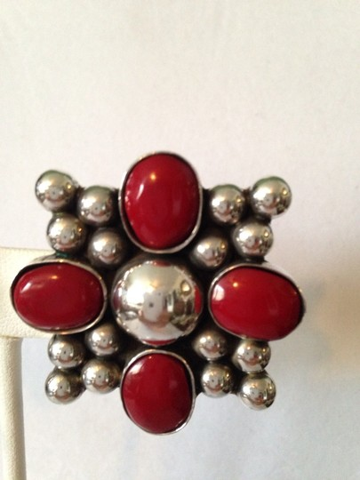 Other Very Large Red Coral & Sterling Silver Clip Earrings Image 2