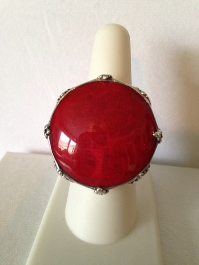 Other Very Large Red Coral & Sterling Silver Clip Earrings Image 4