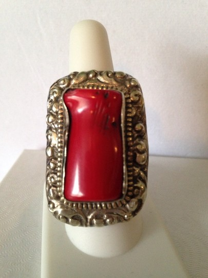 Other Very Large Red Coral & Sterling Silver Clip Earrings Image 5