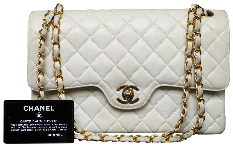 9b56d8537b3f Chanel Classic Flap Double White Lambskin Leather Shoulder Bag - Tradesy