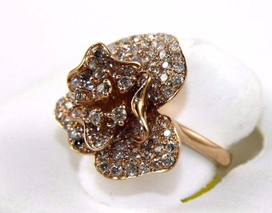 Other Rose Flower Shape Cluster Diamond Lady's Ring 14k Rose Gold 2.53Ct Image 2