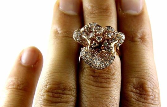 Other Rose Flower Shape Cluster Diamond Lady's Ring 14k Rose Gold 2.53Ct Image 4