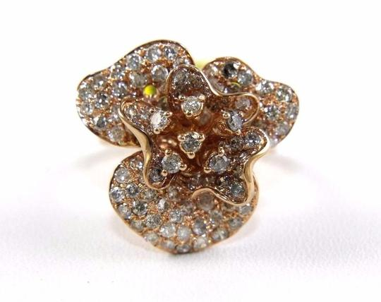 Other Rose Flower Shape Cluster Diamond Lady's Ring 14k Rose Gold 2.53Ct Image 5