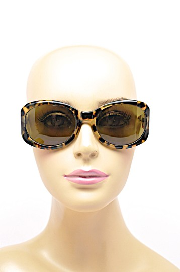Morgenthal-Frederics MORGENTHAL FREDERICS Brown Tortoise Wrap SUNGLASSES with Green Lens Image 1