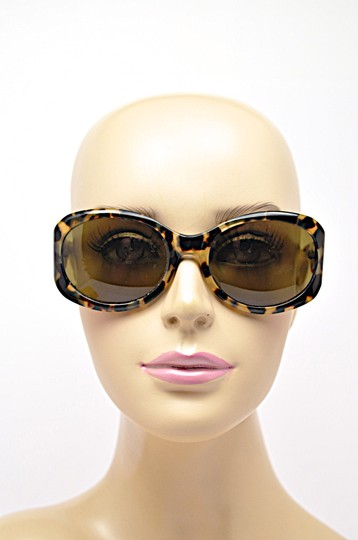 Morgenthal-Frederics MORGENTHAL FREDERICS Brown Tortoise Wrap SUNGLASSES with Green Lens Image 2