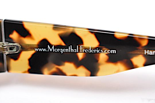 Morgenthal-Frederics MORGENTHAL FREDERICS Brown Tortoise Wrap SUNGLASSES with Green Lens Image 4