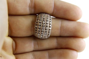 Other Fancy Color Round Diamond Wide Cluster Dome Ring Band 14k RG 2.18Ct