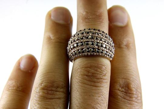 Other Fancy Color Round Diamond Wide Cluster Dome Ring Band 14k RG 2.18Ct Image 1