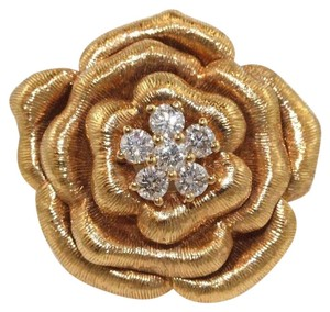 Other Rose Diamond Flower Shape Cluster Milgrain Ring 18k Rose Gold .34Ct