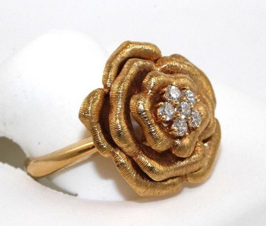 Other Rose Diamond Flower Shape Cluster Milgrain Ring 18k Rose Gold .34Ct Image 1