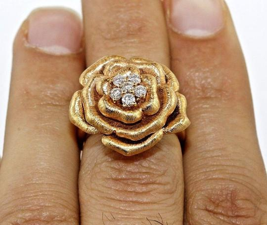 Other Rose Diamond Flower Shape Cluster Milgrain Ring 18k Rose Gold .34Ct Image 3