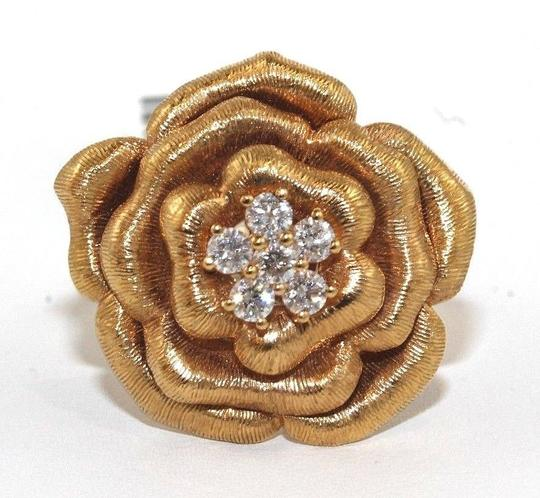 Other Rose Diamond Flower Shape Cluster Milgrain Ring 18k Rose Gold .34Ct Image 4