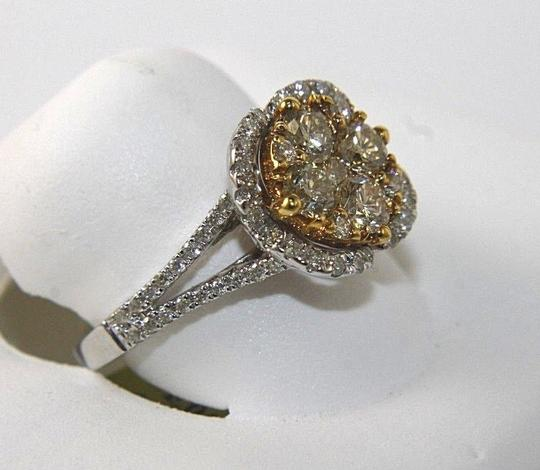 Other Fancy Yellow Diamond Square Cluster Lady's Ring 14k White Gold 1.32Ct Image 2