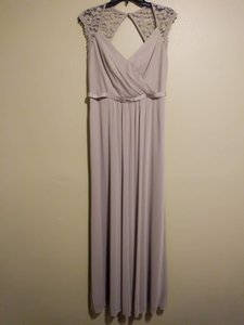 David's Bridal Biscotti Long with Lace Cap Sleeves with Keyhole Formal Bridesmaid/Mob Dress Size 12 (L)