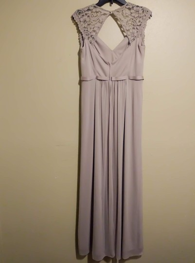 David's Bridal Biscotti Long with Lace Cap Sleeves with Keyhole Formal Bridesmaid/Mob Dress Size 12 (L) Image 1