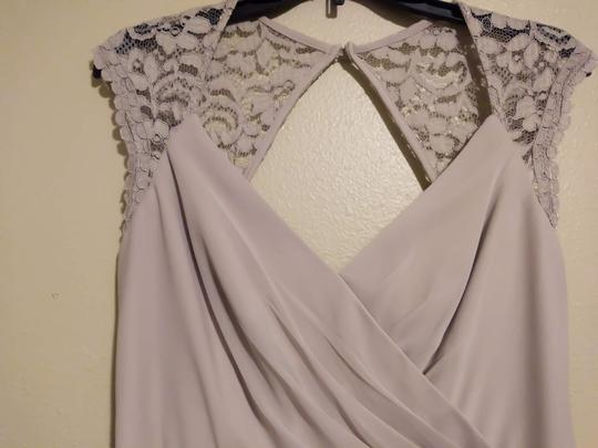 David's Bridal Biscotti Long with Lace Cap Sleeves with Keyhole Formal Bridesmaid/Mob Dress Size 12 (L) Image 2