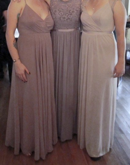 David's Bridal Biscotti Long with Lace Cap Sleeves with Keyhole Formal Bridesmaid/Mob Dress Size 12 (L) Image 4