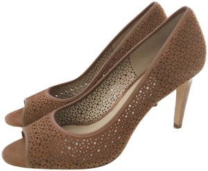 15cbf49f7572 Tory Burch Open Toe Laser Perforated Suede caramel brown