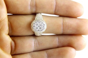 Other Round Cluster Diamond Engagement Ring w/Accents 14k Yellow Gold 1.80Ct