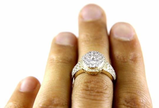 Other Round Cluster Diamond Engagement Ring w/Accents 14k Yellow Gold 1.80Ct Image 1