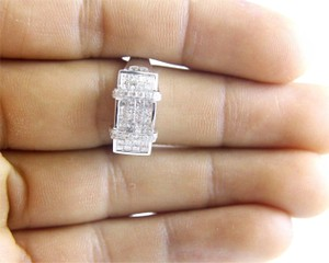 Other Princess Cut Diamond Cluster Invisible Ring Band 18k White Gold 1.24Ct