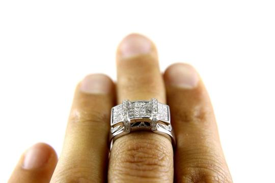 Other Princess Cut Diamond Cluster Invisible Ring Band 18k White Gold 1.24Ct Image 1