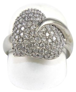 Other Round Diamond Heart Leaf Pave Cluster Ring 18k White Gold 1.10Ct