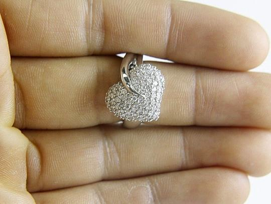 Other Round Diamond Heart Leaf Pave Cluster Ring 18k White Gold 1.10Ct Image 1