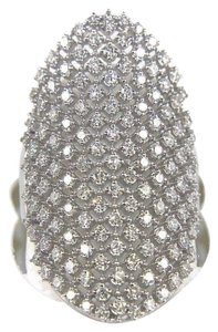 Other Long Cluster Diamond Lady's Ring Band 14k White Gold 1.50Ct