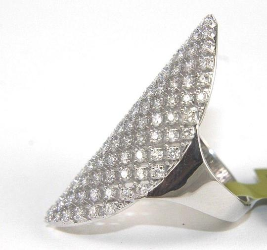 Other Long Cluster Diamond Lady's Ring Band 14k White Gold 1.50Ct Image 5