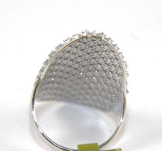 Other Long Cluster Diamond Lady's Ring Band 14k White Gold 1.50Ct Image 6