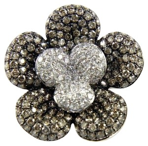 Other Round Fancy Color Diamond Flower Shape Cluster Ring 18k WG 2.62Ct