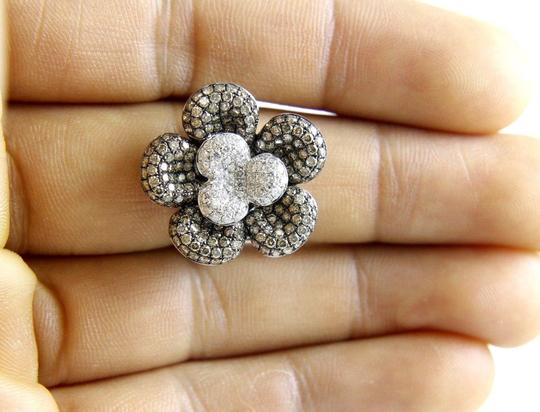 Other Round Fancy Color Diamond Flower Shape Cluster Ring 18k WG 2.62Ct Image 2