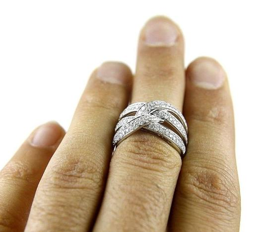 Other Round Diamond Criss Cross Weave Lady's Ring Band 14K White Gold 1.42Ct Image 1
