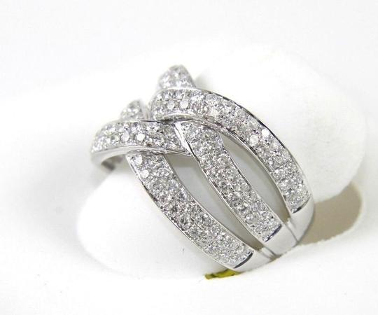 Other Round Diamond Criss Cross Weave Lady's Ring Band 14K White Gold 1.42Ct Image 2