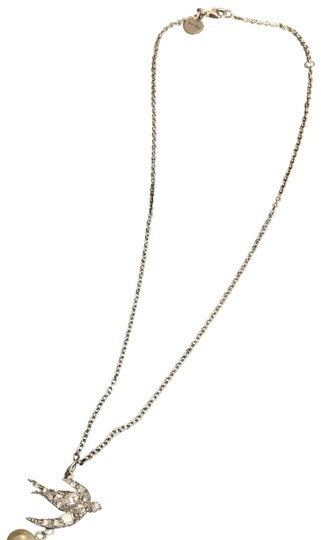 Miu Miu Silver/Pearl Swallow Necklace Image 0