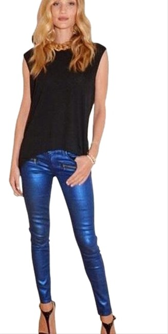 Item - Blue Coated Indio Zip Galaxy Coating Skinny Jeans Size 00 (XXS, 24)
