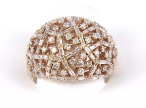 Other Round & Baguette Cluster Diamond Dome Cigar Ring Band 14k RG 1.90Ct