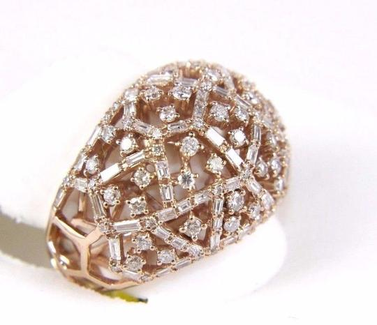 Other Round & Baguette Cluster Diamond Dome Cigar Ring Band 14k RG 1.90Ct Image 1