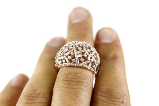 Other Round & Baguette Cluster Diamond Dome Cigar Ring Band 14k RG 1.90Ct Image 3