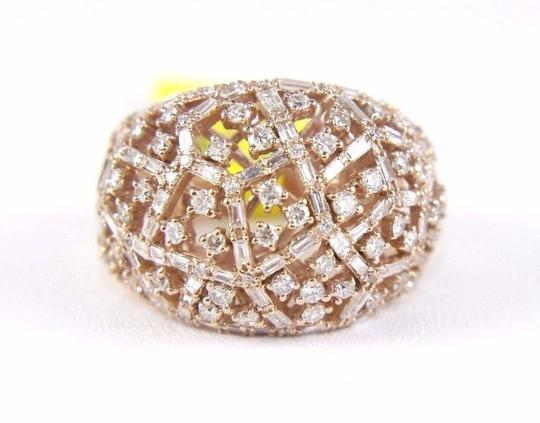 Other Round & Baguette Cluster Diamond Dome Cigar Ring Band 14k RG 1.90Ct Image 4
