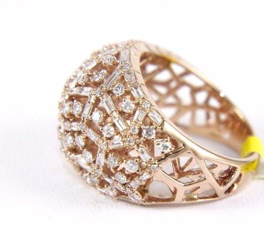 Other Round & Baguette Cluster Diamond Dome Cigar Ring Band 14k RG 1.90Ct Image 5