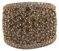 Other Round Cut Fancy Color Diamond Wide Pave Dome Ring Band 14k RG 3.40Ct Image 0