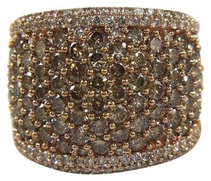 Other Round Cut Fancy Color Diamond Wide Pave Dome Ring Band 14k RG 3.40Ct
