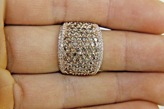 Other Round Cut Fancy Color Diamond Wide Pave Dome Ring Band 14k RG 3.40Ct Image 2