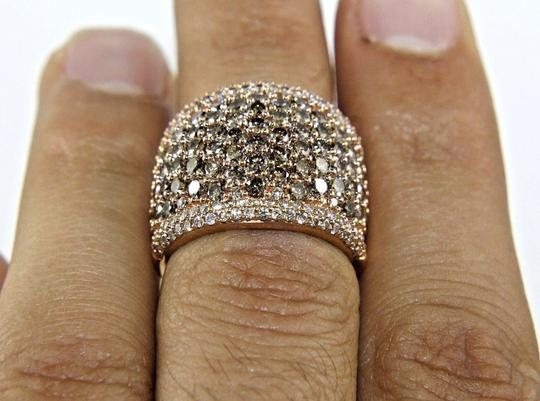 Other Round Cut Fancy Color Diamond Wide Pave Dome Ring Band 14k RG 3.40Ct Image 3